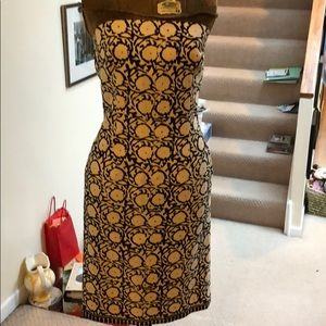 Cream and brown print strapless dress